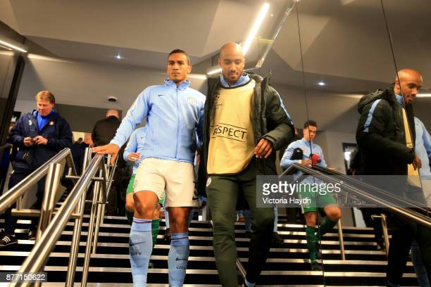 Danilo and Fabian Delph of Manchester City walk in the tunnel prior tothe UEFA Champions League group F match between Manchester City and Feyenoord...