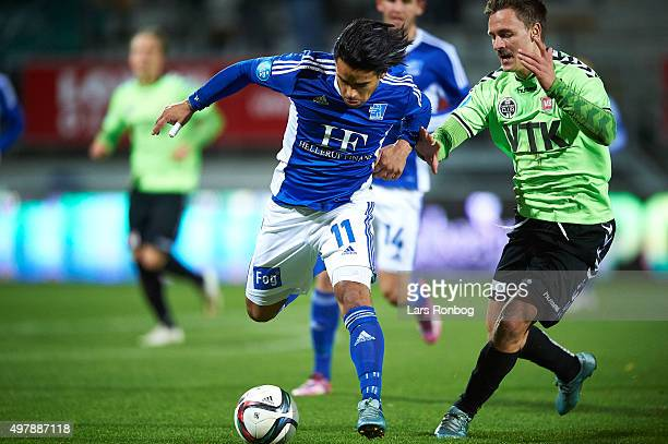 Danilo Arrieta of Lyngby Boldklub and Martin Svensson of Vejle Boldklub compete for the ball during the Danish 1th Division Bet25 Liga match between...