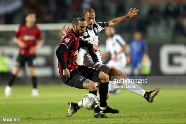 Danilo Bulevardi of Robur Siena battles for the ball with Danilo Alessandro of Pro Piacenza during the Serie Lega Pro match between Robur Siena and...
