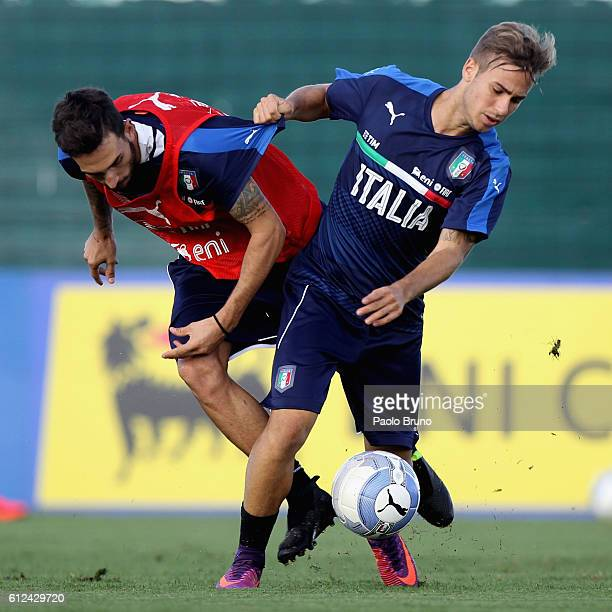 Danilo Cataldi and Federico Ricci of Italy U21 in action during the Italy U21 training session on October 4 2016 in Rome Italy