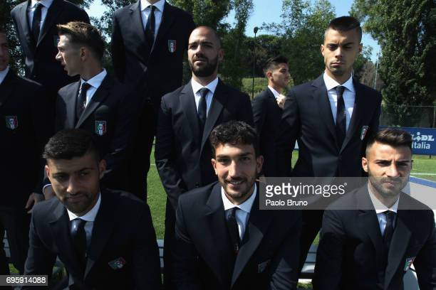 Danilo Cataldi and his teammates of Italy U21 look on during the official team photo at Centro Sportivo Fulvio Bernardini on June 14 2017 in Rome...