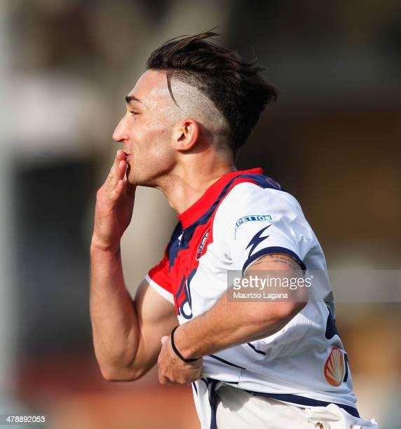 Danilo Cataldi of Crotone celebrates afetr scoring his team's opening goal during the Serie B match between Reggina Calcio and FC Crotone at Stadio...