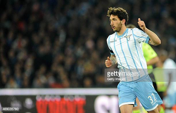Danilo Cataldi of Lazio in action during the Tim cup match between SSC Napoli and SS Lazio at the San Paolo Stadium on April 8 2015 in Naples Italy