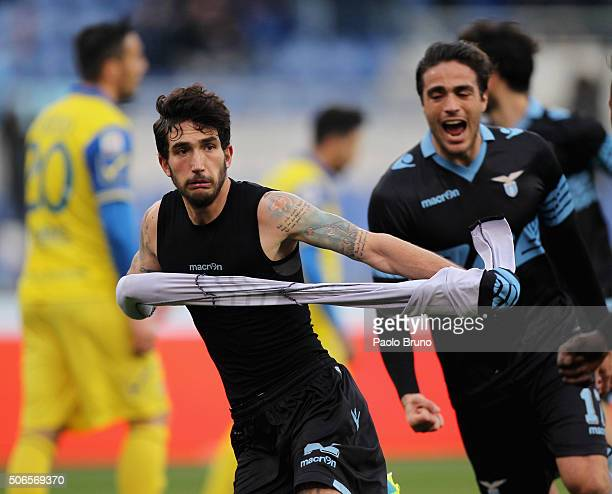 Danilo Cataldi of SS Lazio celebrates after scoring the team's second goal during the Serie A match between SS Lazio and AC Chievo Verona at Stadio...