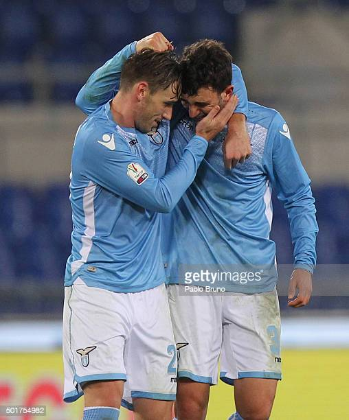 Danilo Cataldi with his teammate Lucas Biglia of SS Lazio celebrate the victory after the TIM Cup match between SS Lazio and Udinese Calcio at Stadio...
