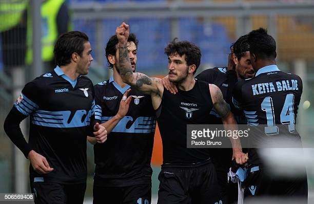 Danilo Cataldi with his teammates of SS Lazio celebrates after scoring the team's second goal during the Serie A match between SS Lazio and AC Chievo...