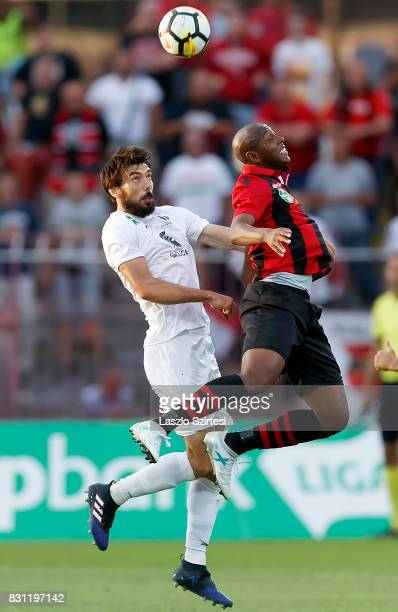 Danilo Cirino de Oliveira 'Danilo' of Budapest Honved battles for the ball in the air with Mijusko Bojovic of Ujpest FC during the Hungarian OTP Bank...