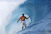 Danilo Costa of Brazil in action finished equal third during the Billabong Pro May 15 2003 at Teahupoo Tahiti