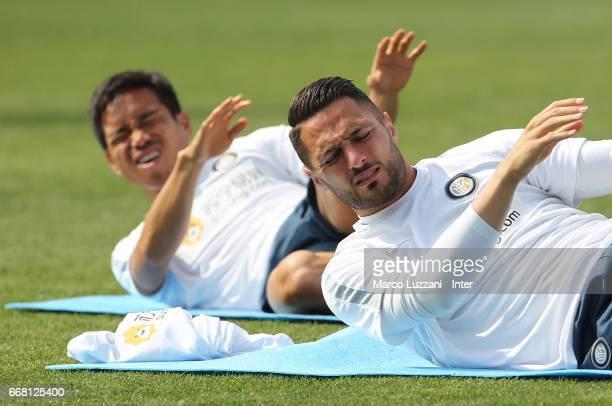 Danilo D Ambrosio and Yuto Nagatomo of FC Internazionale train during the FC Internazionale training session at the club's training ground Suning...