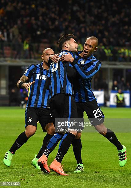 Danilo D Ambrosio of FC Internazionale Milano celebrates after scoring the opening goal with team mate Joao Miranda and Felipe Melo during the Serie...