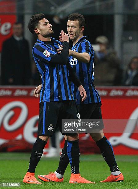 Danilo D Ambrosio of FC Internazionale Milano celebrates his goal with his teammate Ivan Perisic during the Serie A match between FC Internazionale...