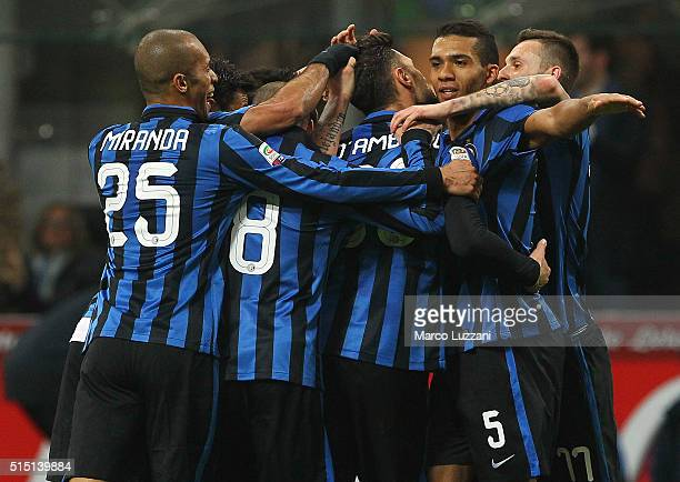 Danilo D Ambrosio of FC Internazionale Milano celebrates his goal with his teammates during the Serie A match between FC Internazionale Milano and...
