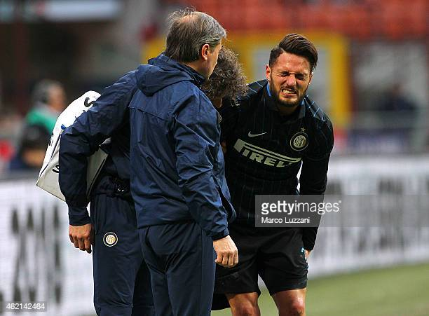 Danilo D Amombrosio of FC Internazionale Milano walks off with an injury during the Serie A match between FC Internazionale Milano and Torino FC at...