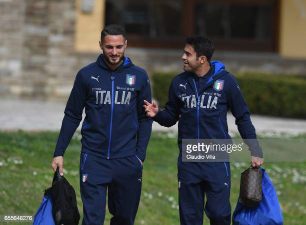 Danilo D'Ambrosio and Eder of Italy chat prior to the training session at the club's training ground at Coverciano on March 20 2017 in Florence Italy