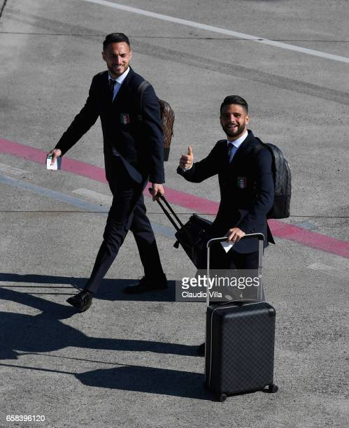 Danilo D'Ambrosio and Lorenzo Insigne of Italy departs for Amsterdam on March 27 2017 in Florence Italy