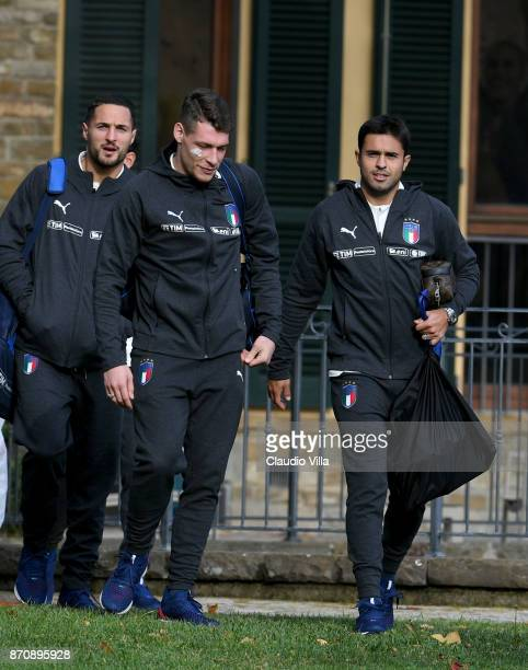 Danilo D'Ambrosio Andrea Belotti and Citadin Martins Eder of Italy chat prior to the training session at Italy club's training ground at Coverciano...