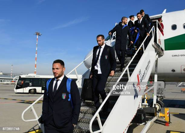 Danilo D'Ambrosio Giorgio Chiellini Leonardo Bonucci and Davide Zappacosta of Italy arrive at Malpensa airport on November 11 2017 in Milan Italy