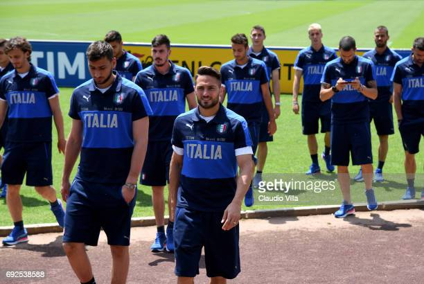 Danilo D'Ambrosio leads Italy players during FIGC Partners Day at Coverciano on June 5 2017 in Florence Italy
