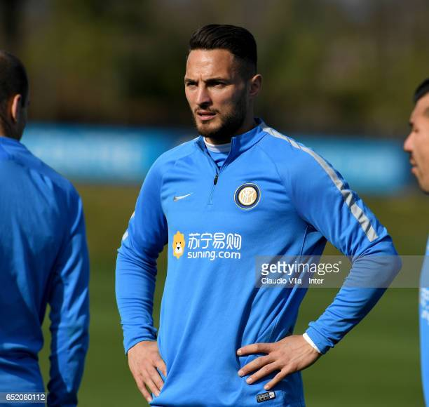 Danilo D'Ambrosio looks on prior to the training session at Suning Training Center at Appiano Gentile on March 11 2017 in Como Italy