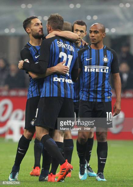 Danilo D'Ambrosio of FC Internazionale and Davide Santon of FC Internazionale celebrate the win at the end of the Serie A match between FC...