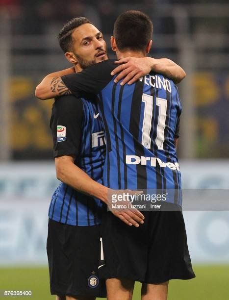 Danilo D'Ambrosio of FC Internazionale and Matias Vecino of FC Internazionale celebrate the win at the end of the Serie A match between FC...