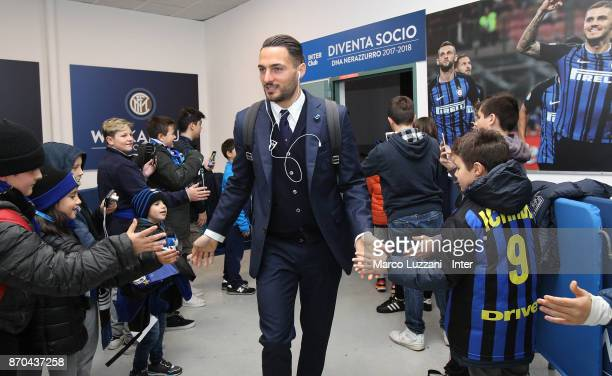 Danilo D'Ambrosio of FC Internazionale arrives prior to the Serie A match between FC Internazionale and Torino FC at Stadio Giuseppe Meazza on...