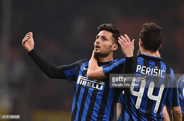 Danilo D'Ambrosio of FC Internazionale celebrates after scoring the second goal during the Serie A match between FC Internazionale Milano and Bologna...