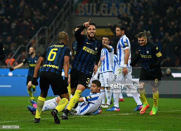 Danilo D'Ambrosio of FC Internazionale celebrates after scoring the opening goal during the Serie A match between FC Internazionale and Pescara...