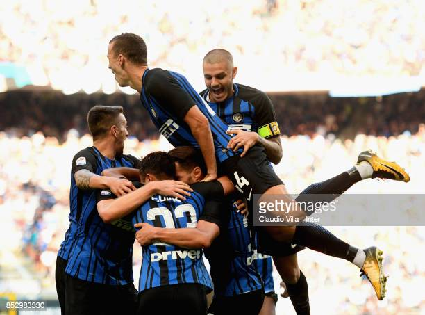 Danilo D'Ambrosio of FC Internazionale celebrates after scoring the opening goal during the Serie A match between FC Internazionale and Genoa CFC at...