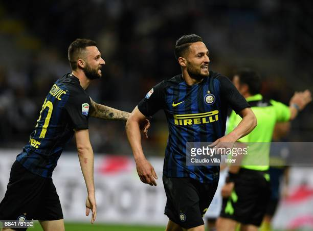 Danilo D'Ambrosio of FC Internazionale celebrates with Marcelo Brozovic of FC Internazionale after scoring the opening goal during the Serie A match...