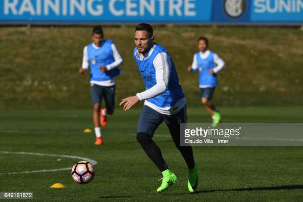 Danilo D'Ambrosio of FC Internazionale in action during a FC Internazionale training session at Suning Training Center at Appiano Gentile on March 07...