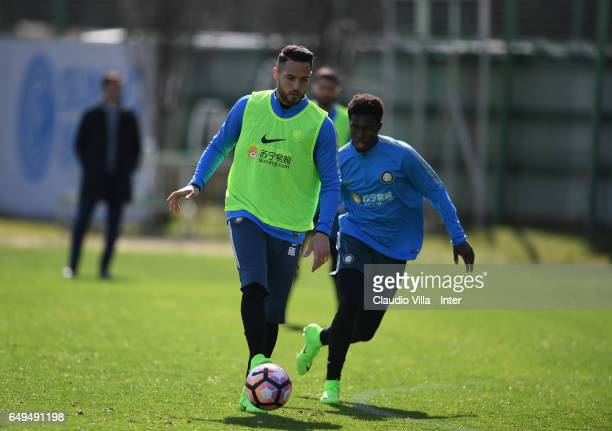 Danilo D'Ambrosio of FC Internazionale in action during a FC Internazionale training session at Suning Training Center at Appiano Gentile on March 08...