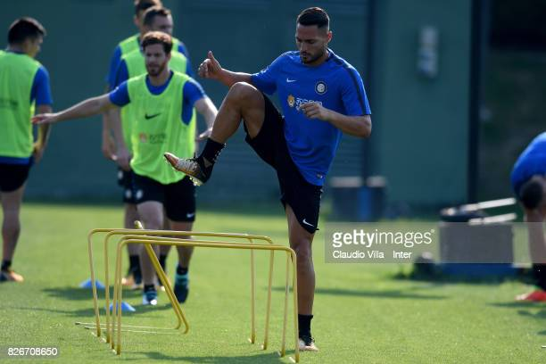 Danilo D'Ambrosio of FC Internazionale in action during a training session at Suning Training Center at Appiano Gentile on August 2 2017 in Como Italy