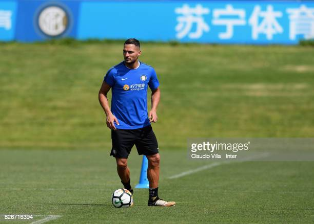 Danilo D'Ambrosio of FC Internazionale in action during a training session at Suning Training Center at Appiano Gentile on August 3 2017 in Como Italy