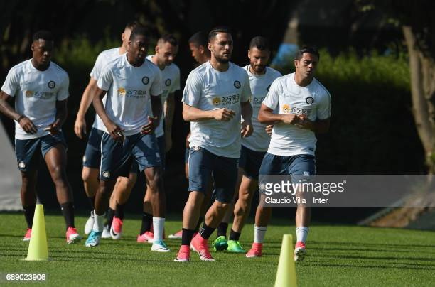 Danilo D'Ambrosio of FC Internazionale in action during FC Internazionale training session at Suning Training Center at Appiano Gentile on May 27...