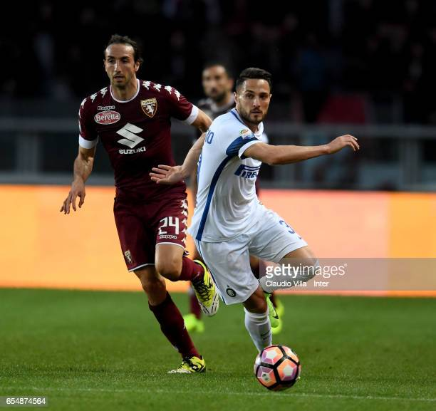Danilo D'Ambrosio of FC Internazionale in action during the Serie A match between FC Torino and FC Internazionale at Stadio Olimpico di Torino on...