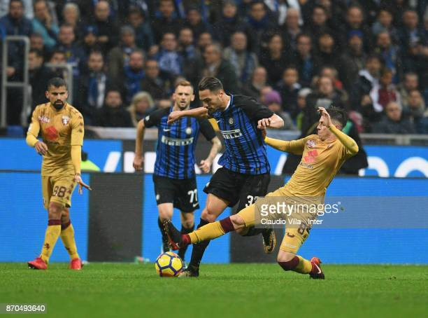 Danilo D'Ambrosio of FC Internazionale in action during the Serie A match between FC Internazionale and Torino FC at Stadio Giuseppe Meazza on...