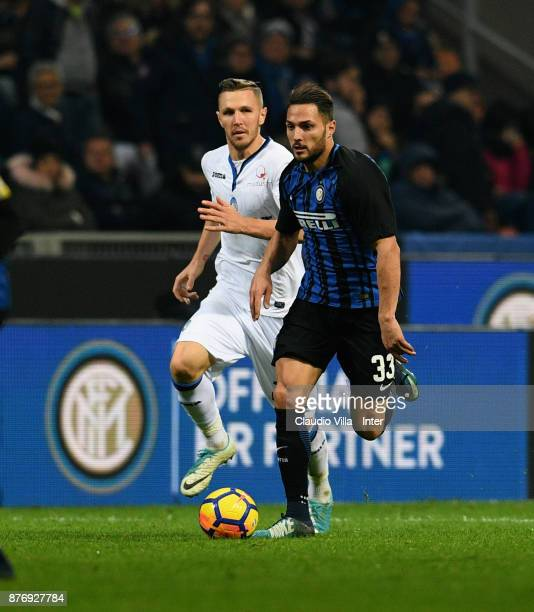 Danilo D'Ambrosio of FC Internazionale in action during the Serie A match between FC Internazionale and Atalanta BC at Stadio Giuseppe Meazza on...