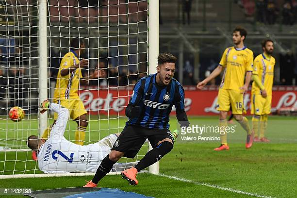Danilo D'Ambrosio of FC Internazionale Milano celebrates after scoring the opening goal during the Serie A match between FC Internazionale Milano and...