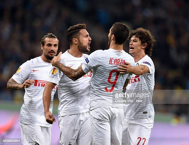 Danilo D'Ambrosio of FC Internazionale Milano celebrates his first goal during the UEFA Europa League group F match between FC Dnipro Dnipropetrovsk...