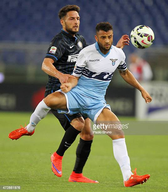 Danilo D'Ambrosio of FC Internazionale Milano competes for the ball with Felipe Anderson of SS Lazio during the Serie A match between SS Lazio and FC...