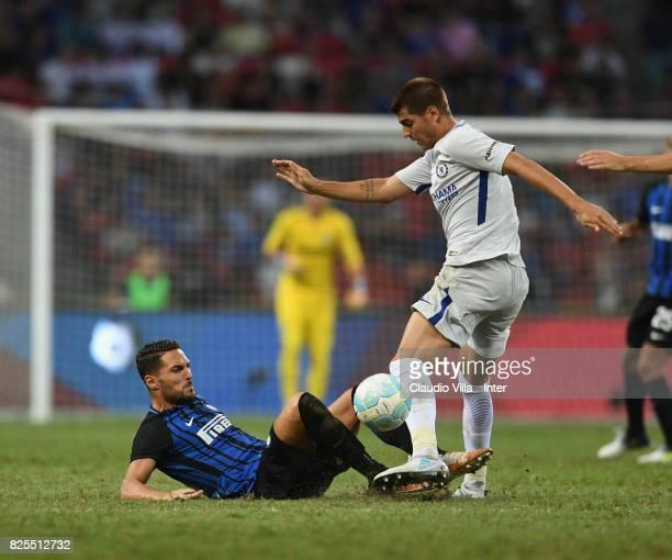 Danilo D'Ambrosio of FC Internazionale of FC Internazionale and Alvaro Morata of Chelsea FC compete for the ball during the International Champions...