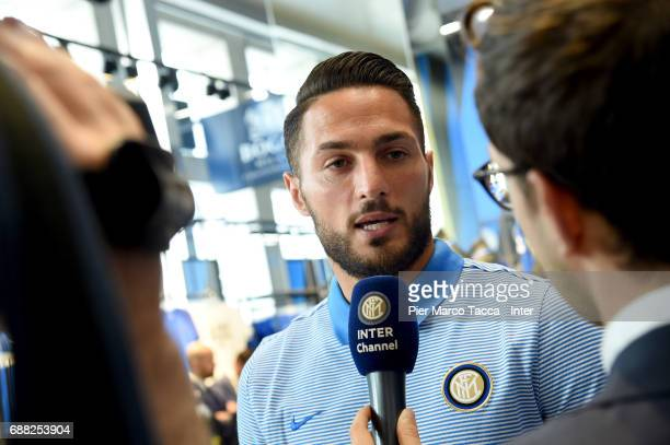 Danilo D'Ambrosio of FC Internazionale speaks to the Inter channel as the FC Internazionale New 2017/18 kit is unveiled at Club Store on May 25 2017...