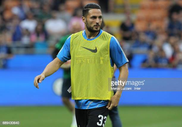 Danilo D'Ambrosio of FC Internazionale warms up ahead of the Serie A match between FC Internazionale and Udinese Calcio at Stadio Giuseppe Meazza on...