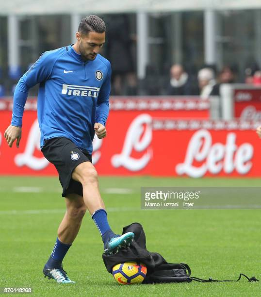 Danilo D'Ambrosio of FC Internazionale warms up ahead of the Serie A match between FC Internazionale and Torino FC at Stadio Giuseppe Meazza on...