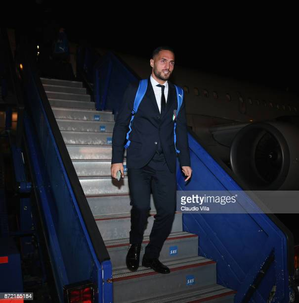 Danilo D'Ambrosio of Italy arrives in Sweden on November 9 2017 in Stockholm Sweden