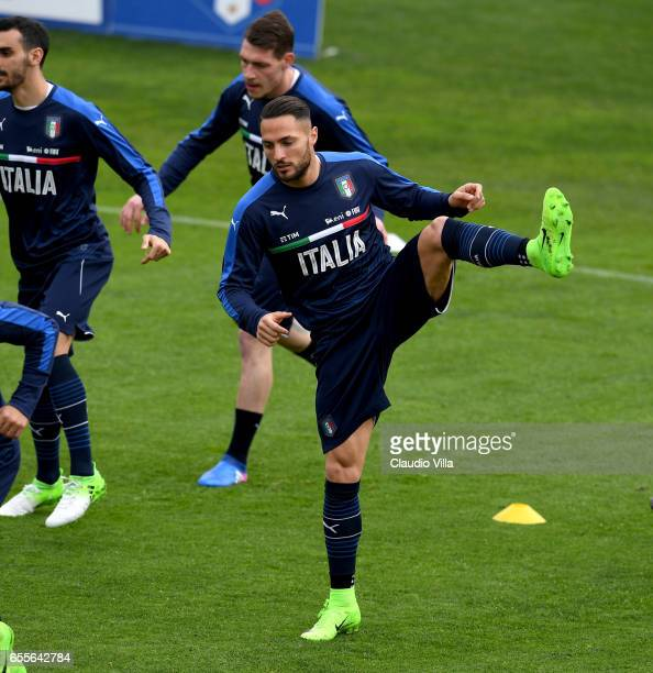 Danilo D'Ambrosio of Italy in action during the training session at the club's training ground at Coverciano on March 20 2017 in Florence Italy