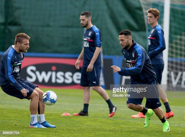 Danilo D'Ambrosio of Italy in action during the training session at the club's training ground at Coverciano on March 21 2017 in Florence Italy