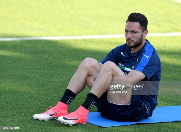 Danilo D'Ambrosio of Italy in action during the training session at Coverciano at Coverciano on May 29 2017 in Florence Italy