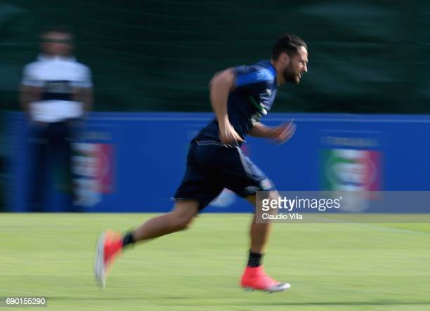 Danilo D'Ambrosio of Italy in action during the training session at Coverciano at Coverciano on May 30 2017 in Florence Italy